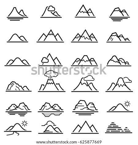 Mountain line icons.