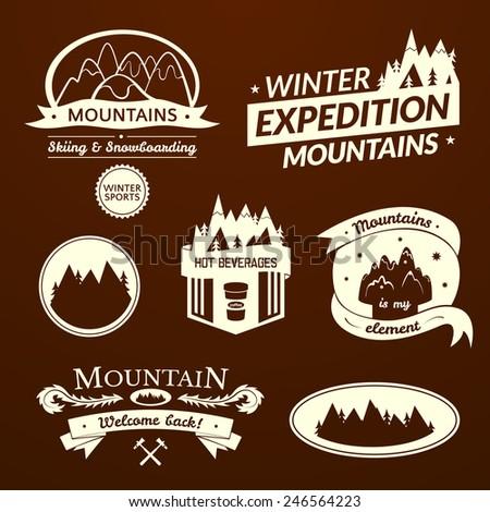 Mountain logo and label set, typography design, retro vector illustration