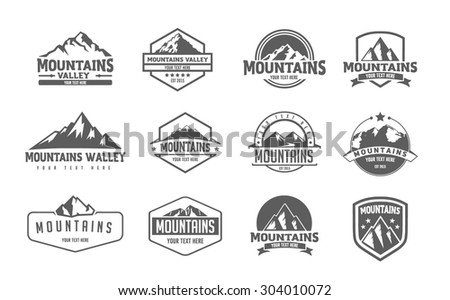 mountain logo emblem set with