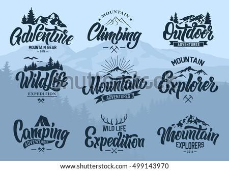 mountain logo lettering vector