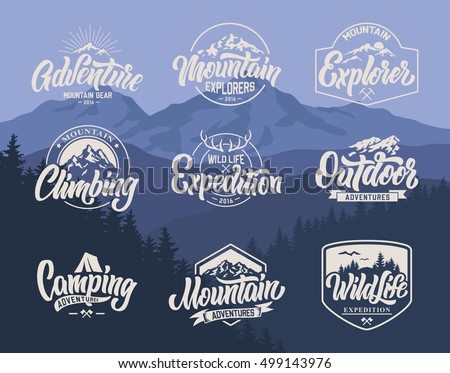 Mountain logo lettering vector set.