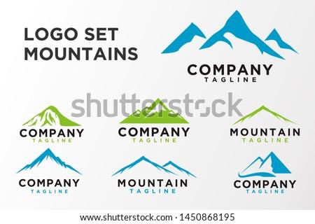 mountain logo set illustration