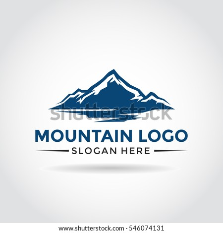 mountain logo template blue