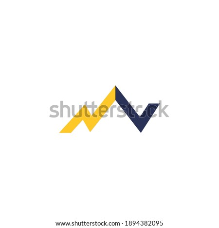 Mountain logo with simple and modern initials of the letter NV 4 Imagine de stoc ©