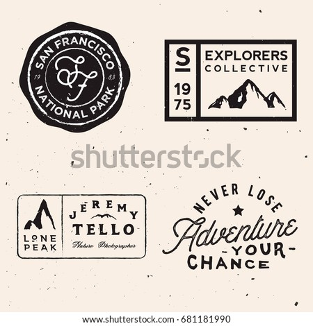 mountain logotypes. Adventure logo templates on travel theme. Vector stock
