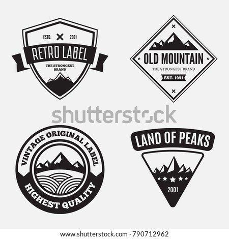Mountain logotypes with hill peaks. Minimal retro badges, vintage labels for branding projects.