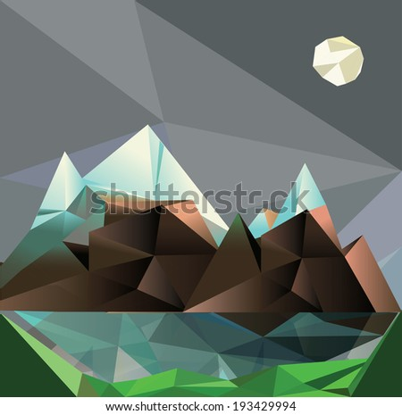mountain low poly style vector