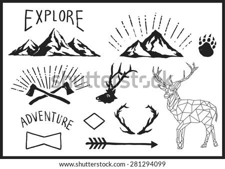 mountain nature animal vector...