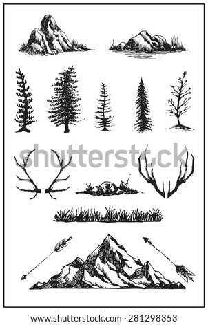 mountain nature tree vector