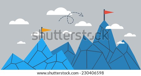 Mountain of achievement, big success, growth comparison, upgrade vector illustration