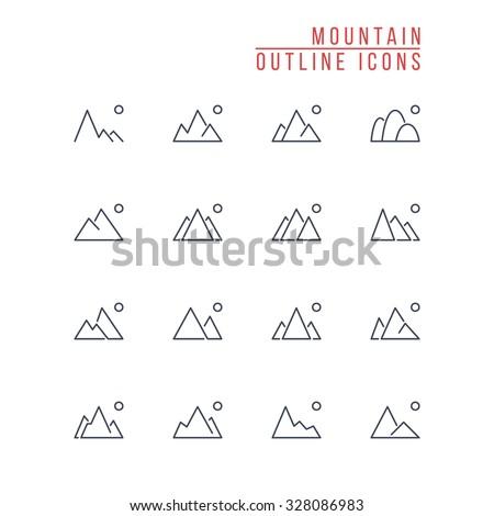 mountain outline icons