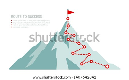 Mountain peak, climbing route to top rock - minimalistic flat illustration. Business journey path in progress to success. Mountain climbing route to peak Isolated vector illustration
