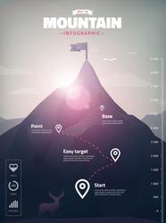 mountain peak infographic, polygon illustration