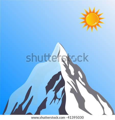 mountain peak vector with sun