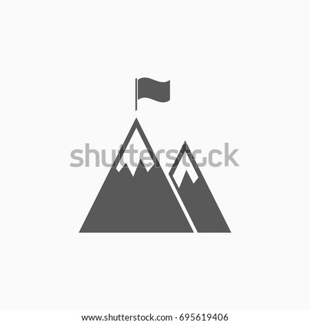 mountain peak with flag icon