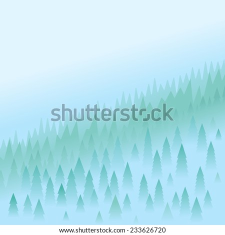 mountain peaks covered firs in