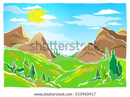 mountain peaks  hills  valley