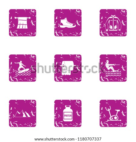 Mountain preparation icons set. Grunge set of 9 mountain preparation vector icons for web isolated on white background
