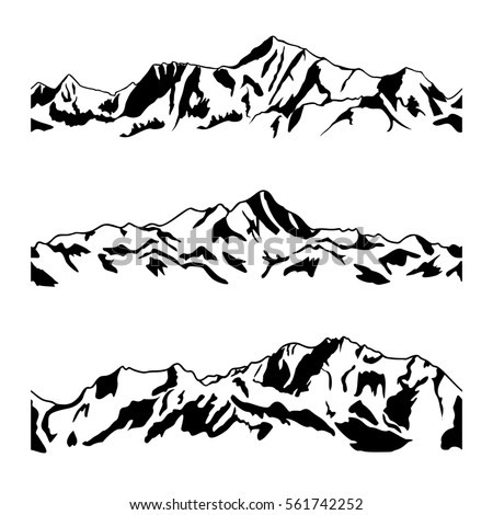 mountain range drawing set