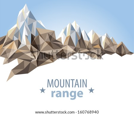 Mountain range in origami style