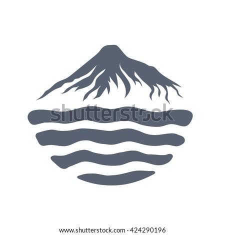 mountain range over a lake  sea