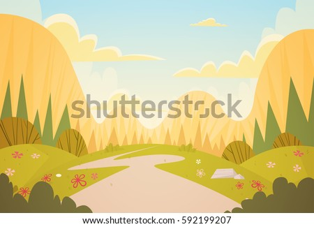 Mountain Range Spring Landscape Country Road Nature Background Flat Vector Illustration