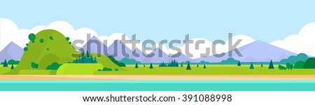Mountain Range Summer Landscape Horizontal Banner Vector Illustration