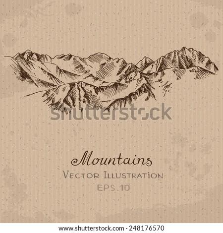mountain ridge hand drawn