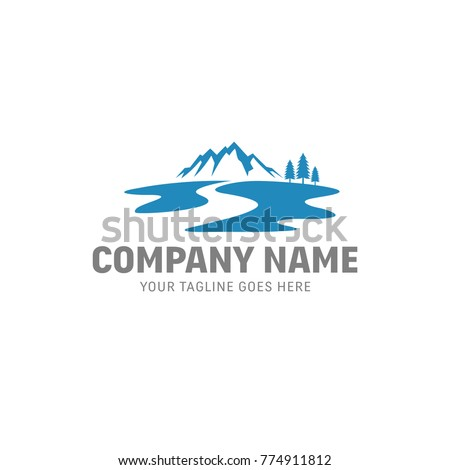 Stock Photo Mountain River Vector Logo