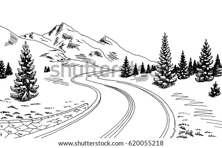mountain road graphic black