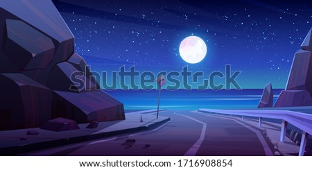 mountain road with night