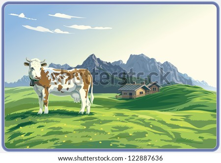 mountain rural landscape with