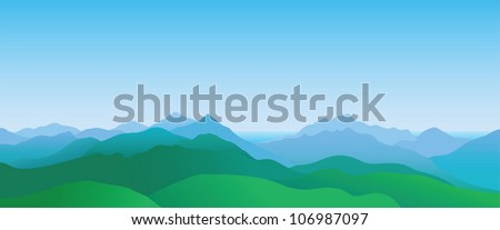 Mountain scenery, abstract summer landscape, vector illustration - stock vector