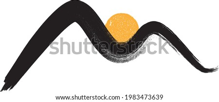 Mountain silhouettes with sun.Letter m.  Rocky peaks in sunset.  Splatter Paint Texture . Distress Grunge background . Scratch, Grain, Noise rectangle stamp . Black Spray Blot of Ink..abstract vector. Photo stock ©