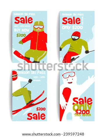 Mountain Skier Colorful Winter Sport Flyer Design Template. Snowboarding and skiing ski pass or sale flyers. Vector illustration.