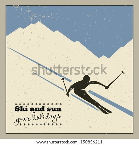 mountain skier slides from the