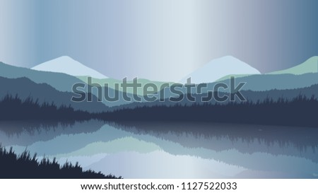 mountain  sky and river in a