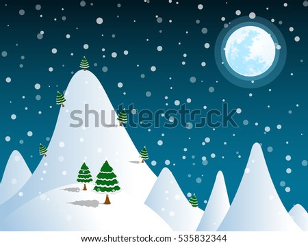 mountain snow on the full moon