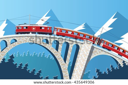mountain train on the bridge