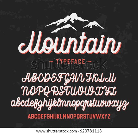 Mountain typeface. Handwritten lettering vector font aphabet