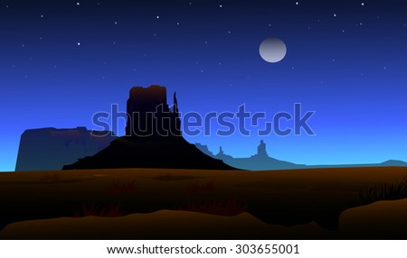mountain valley at night
