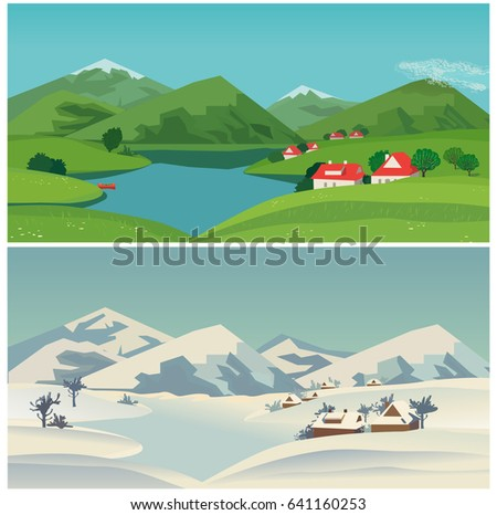 mountain valley landscape in