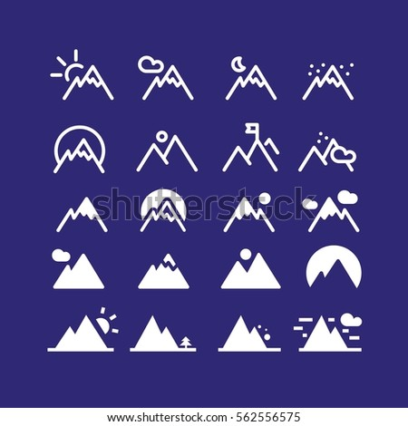 mountain vector hill icon set