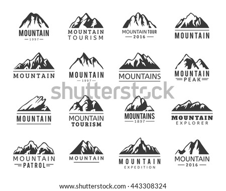 mountain vector icons set set
