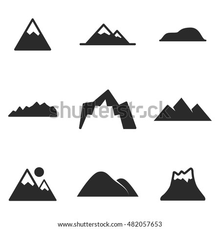 Black and white mountain vector icons… Stock Photo 346251899