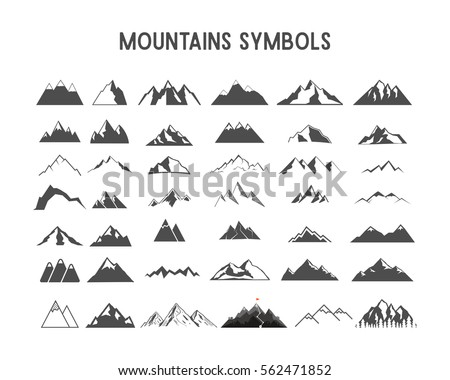 Mountain vector shapes and elements collection. Isolated on white background.