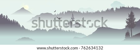 mountain view with flying birds