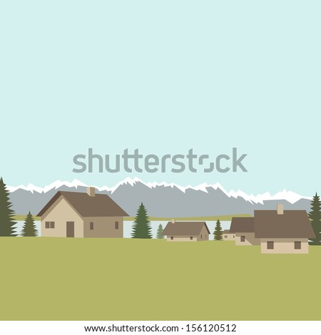 Mountain village background, vector illustration