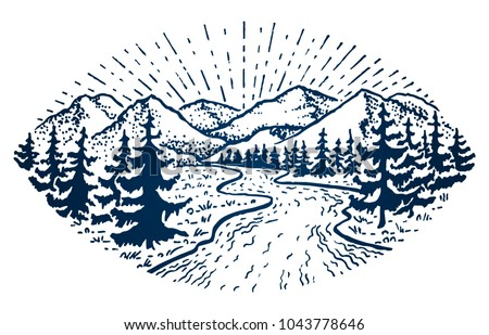 Mountain vintage emblem. Fir forest, clouds, trees, snake river and sunshine. Outdoor activity travel, tourism. Hand drawn engraved illustration for design. Vector badge isolated on white background.