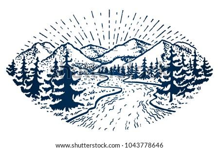 mountain vintage emblem. fir...